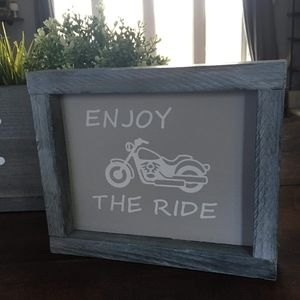 Hand Crafted   Rustic Motorcycle Sign Wall Art